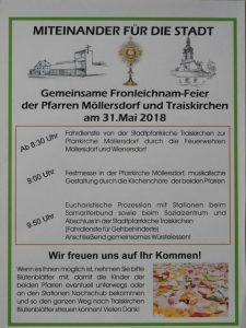 Ankündigung Fronleichnam 2018